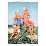 ¡Trajes de baño de las mujeres del vintage y casqu Tarjetas