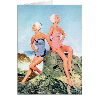 ¡Trajes de baño de las mujeres del vintage y casqu Tarjeta De Felicitación