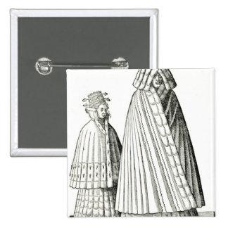 Trajes de una mujer noble de Livonian Pin Cuadrada 5 Cm