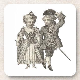 Trajes del vintage de Marie Antonieta Louis XVI Posavasos De Bebidas