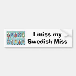 Trajes regionales suecos del vintage pegatina de parachoque