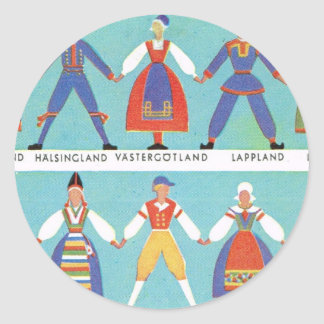 Trajes regionales suecos del vintage pegatina redonda