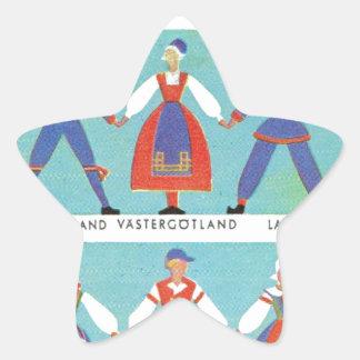 Trajes regionales suecos del vintage pegatina en forma de estrella