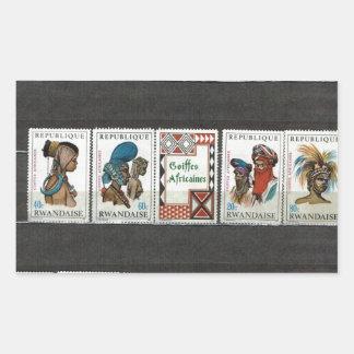 Trajes tribales africanos pegatina rectangular