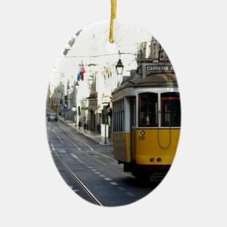 Tram 28, Lisbon, Portugal Ceramic Ornament