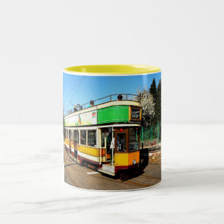 Tram at Colyton station Two-Tone Coffee Mug