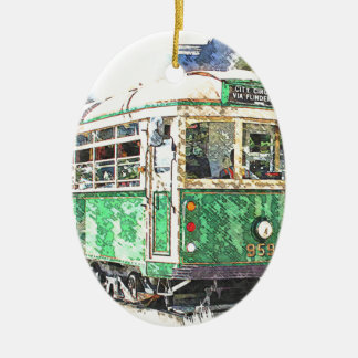 Tram Ceramic Ornament