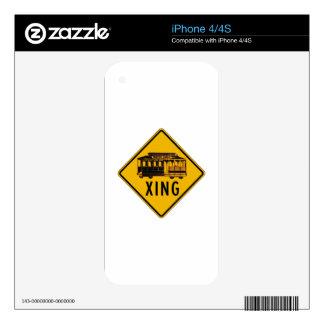 Tram Crossing, Traffic Warning Sign, CA, USA iPhone 4 Skin