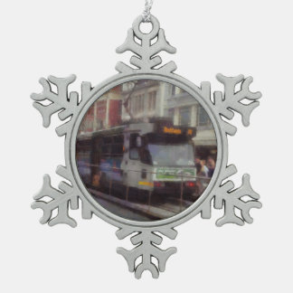 Tram in Melbourne Snowflake Pewter Christmas Ornament