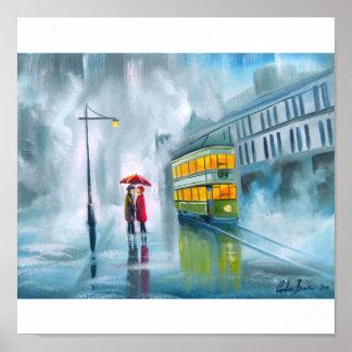 Tram oil painting rainy day umbrella poster