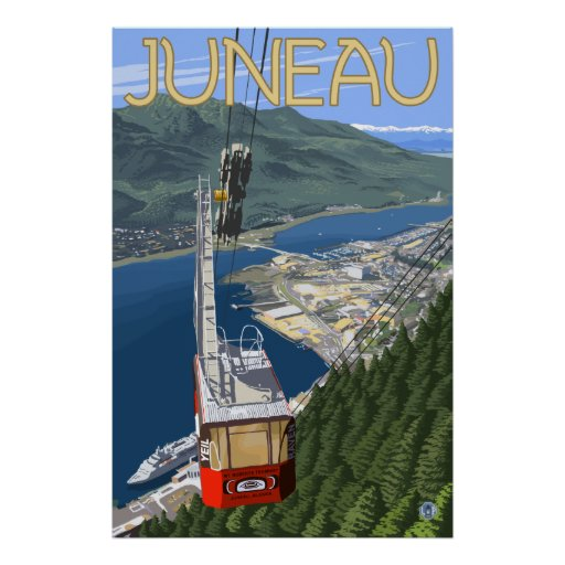 Tram over Juneau, Alaska Poster