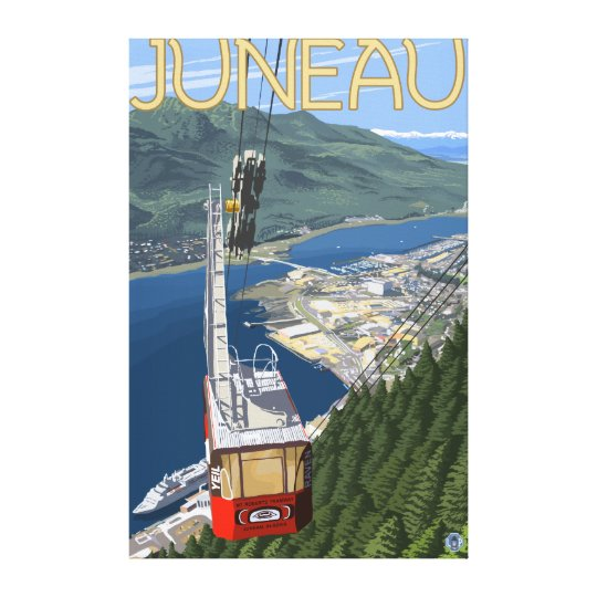 Tram over Juneau, Alaska Vintage Travel Poster Canvas Print