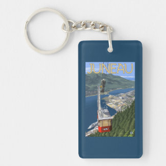 Tram over Juneau, Alaska Vintage Travel Poster Double-Sided Rectangular Acrylic Keychain