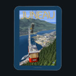 "Tram over Juneau, Alaska Vintage Travel Poster Magnet<br><div class=""desc"">Tram over Juneau,  Alaska Vintage Travel Poster was created in 2007. This image depicts scenes from Juneau,  AK.</div>"