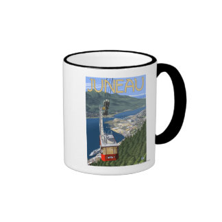 Tram over Juneau, Alaska Vintage Travel Poster Ringer Coffee Mug