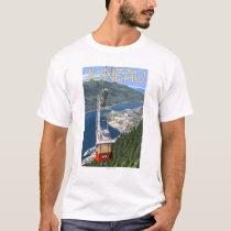 Tram over Juneau, Alaska Vintage Travel Poster T-Shirt
