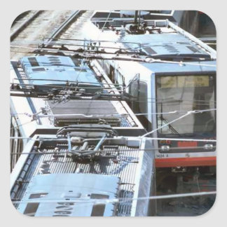 Tram tops square sticker