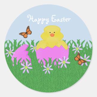 Trama de los pegatinas felices de Pascua del pato Pegatina Redonda