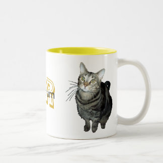 """""""Trampa, neutro,"""" taza de vuelta del gato de tabby"""