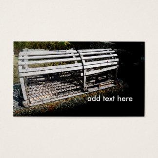 trampa o jaula de madera de la langosta tarjetas de visita