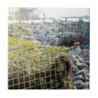 Trampas de la langosta en la playa rocosa azulejo cuadrado pequeño