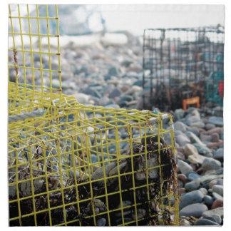Trampas de la langosta en la playa rocosa servilleta