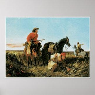 Tramperos que siguen el rastro, 1851 posters