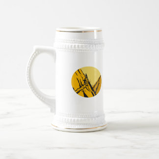 Trampers Climbing Steep Path Mountain Oval Woodcut Beer Stein
