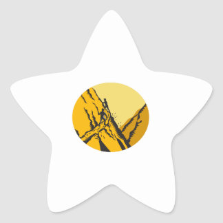 Trampers Climbing Steep Path Mountain Oval Woodcut Star Sticker