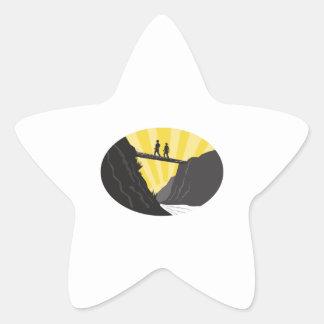 Trampers Log Bridge Ravine River Oval Woodcut Star Sticker