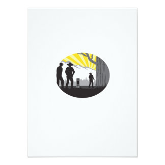Trampers Mile Marker Giant Tree Oval Woodcut Card