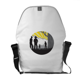 Trampers Mile Marker Giant Tree Oval Woodcut Courier Bag