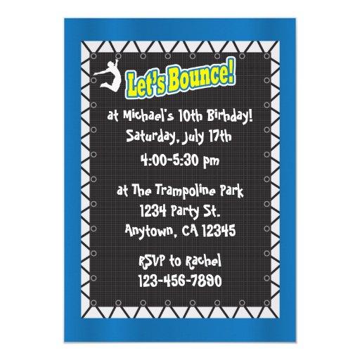 Trampoline Birthday Party Invitation | Zazzle