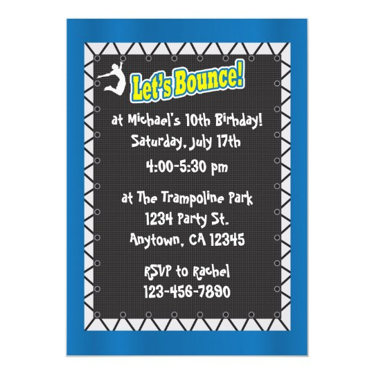 Trampoline Party Invitations: Trampoline Birthday Party Invitation