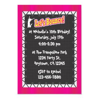 Trampoline Birthday Party Invitation Pink