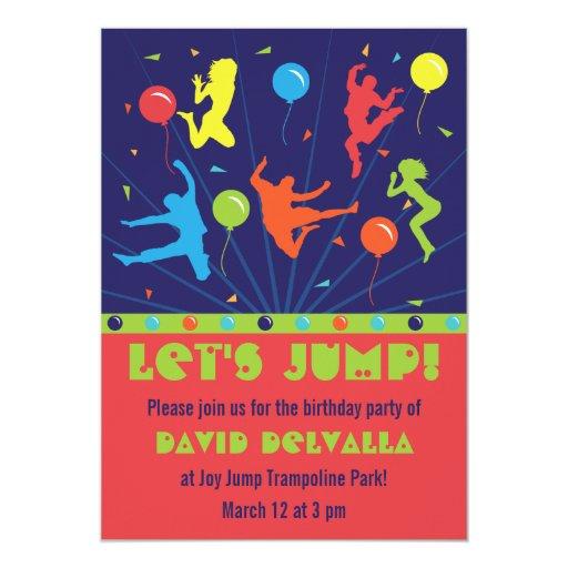 Trampoline Birthday Party Invitations Boys & Girls   Zazzle