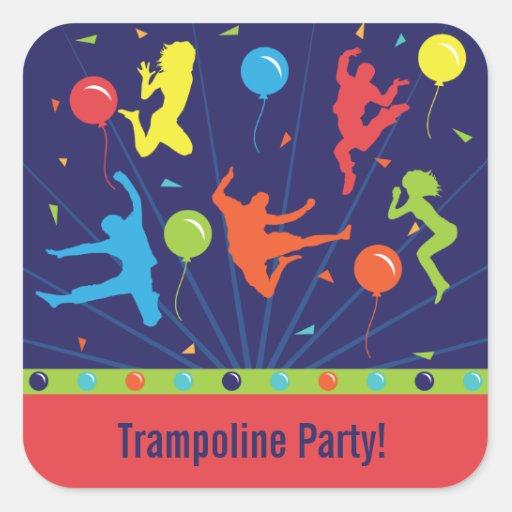 Trampoline Birthday Party Stickers Boys & Girls | Zazzle