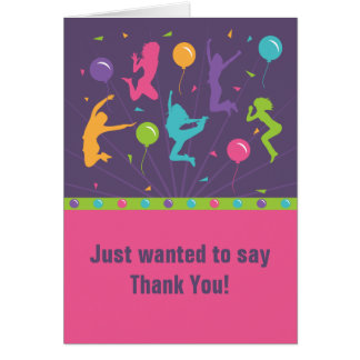 Trampoline Birthday Party Thank You Cards - Girls