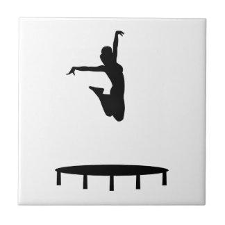 Trampoline girl ceramic tile