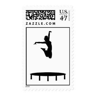 Trampoline girl postage stamp