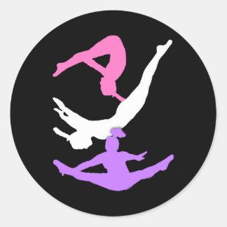 Trampoline gymanst classic round sticker