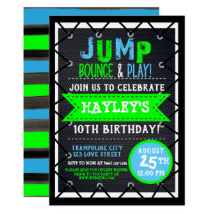 Trampoline Park Bounce Party Neon Colors Summer Invitation