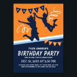 """Trampoline Park Boys Kids Birthday Party Invitation<br><div class=""""desc"""">Trampoline court park birthday invitations featuring a blue &amp; orange backdrop,  kids jumping and flying through the air and a simple text template.</div>"""