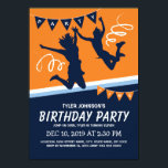 "Trampoline Park Boys Kids Birthday Party Invitation<br><div class=""desc"">Trampoline court park birthday invitations featuring a blue &amp; orange backdrop,  kids jumping and flying through the air and a simple text template.</div>"
