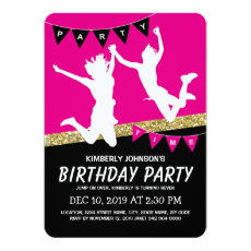 Trampoline Park Girl Pink Kids Birthday Party Invitation