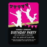"""Trampoline Park Girl Pink Kids Birthday Party Invitation<br><div class=""""desc"""">Trampoline court park birthday invitations featuring a pink &amp; black backdrop,  a faux gold glitter strip,  kids jumping and flying through the air and a simple text template.</div>"""