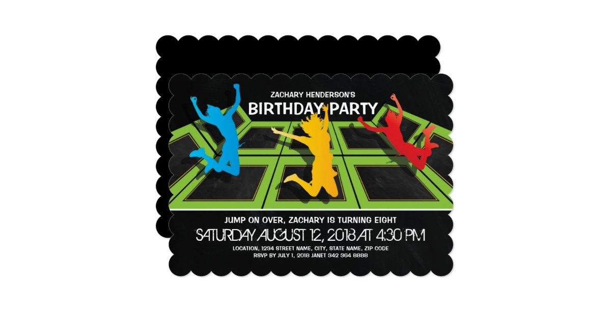 Trampoline Park Kids Birthday Party Card Zazzle Com