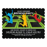 TRAMPOLINE PARK KIDS BIRTHDAY PARTY CARD<br><div class='desc'>A black backdrop,  trampoline courts,  kids jumping and flying through the air and simple clean white wording.</div>