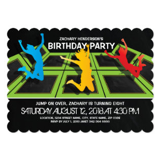 TRAMPOLINE PARK KIDS BIRTHDAY PARTY CARD at Zazzle