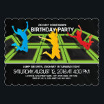 """Trampoline Park Kids Birthday Party Invitation<br><div class=""""desc"""">A black backdrop,  trampoline courts,  kids jumping and flying through the air and simple clean white wording.</div>"""